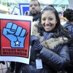 Alya Solomon in solidarity with Wisconsin workers.