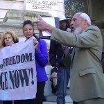 Rev. Hagler and Alya pictured in a rally for the Large Retailer Accountability Act.