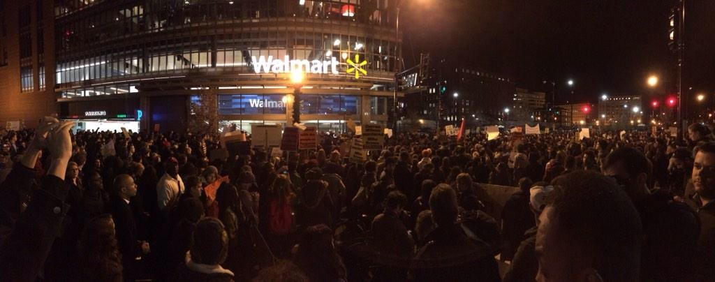 At the #DCFerguson march on Tuesday, 11/25,  demonstrators march into the H Street store.